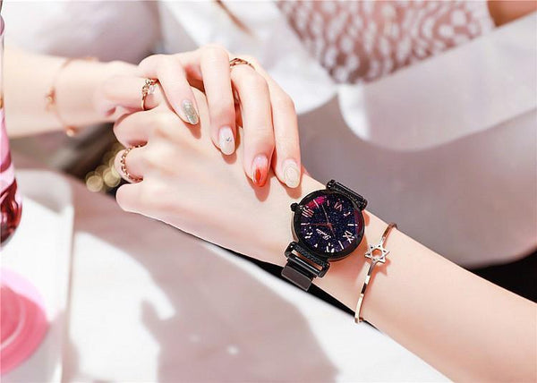 Trendinggate.com Black shell Shigaudi 2019 new ladies watch fashion trend starry sky red with Korean students waterproof Korean version