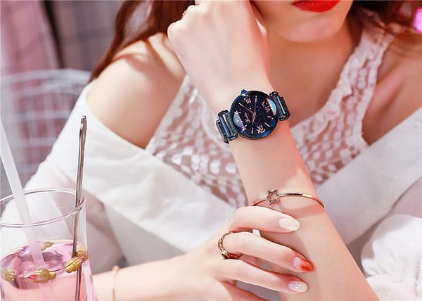 Trendinggate.com Blue shell Shigaudi 2019 new ladies watch fashion trend starry sky red with Korean students waterproof Korean version