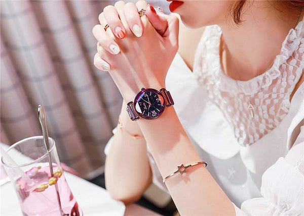 Trendinggate.com Purple shell Shigaudi 2019 new ladies watch fashion trend starry sky red with Korean students waterproof Korean version
