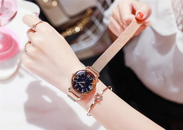 Trendinggate.com Rose Gold Shigaudi 2019 new ladies watch fashion trend starry sky red with Korean students waterproof Korean version