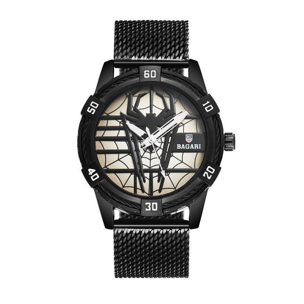 Trendinggate.com Black shell, black face, black belt shopeeHair on behalf of wish hair on behalf of 2019 new men's Japan imported movement boutique watch spider