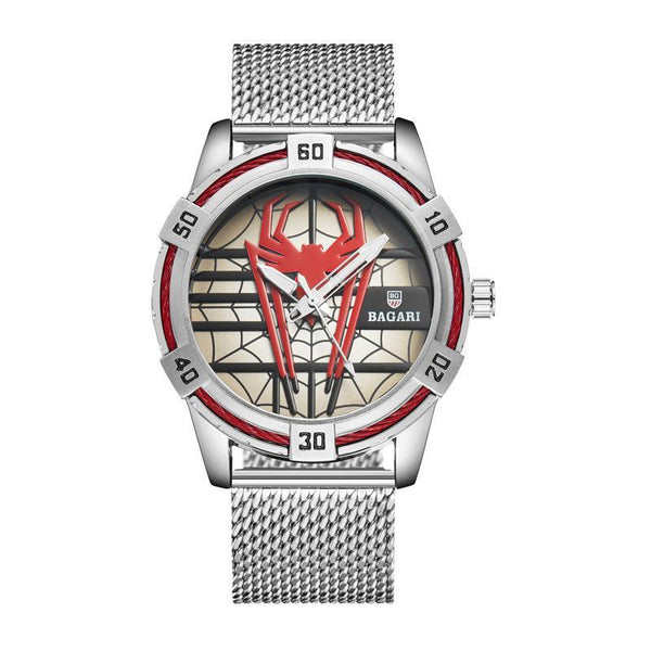Trendinggate.com Silver shell, red face, silver belt shopeeHair on behalf of wish hair on behalf of 2019 new men's Japan imported movement boutique watch spider