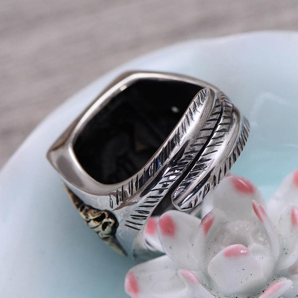 Trendinggate.com Small Black Silver Wholesale S925 Silver Jewelry Personality Indian Chief Men Opening Ring Retro Ring (Black)