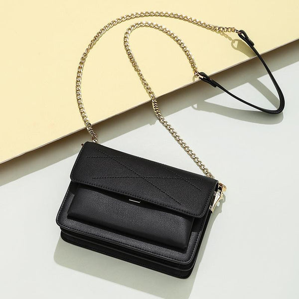 Trendinggate.com Elegant black Small design leather slung women's bag 2019 new fashion summer chain shoulder bag sewing small square bag generation
