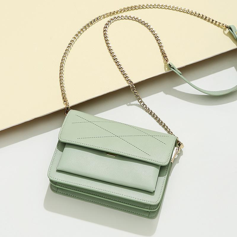 Trendinggate.com Mint green Small design leather slung women's bag 2019 new fashion summer chain shoulder bag sewing small square bag generation