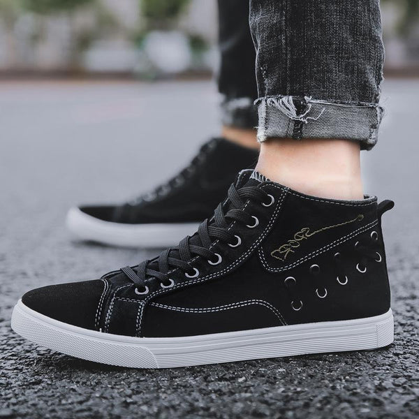 Trendinggate.com Black / 39 Spot wholesale 2019 new high-gang canvas shoes men's Korean version trend casual men's board shoes tie student shoes