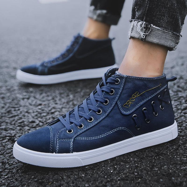 Trendinggate.com Blue / 39 Spot wholesale 2019 new high-gang canvas shoes men's Korean version trend casual men's board shoes tie student shoes