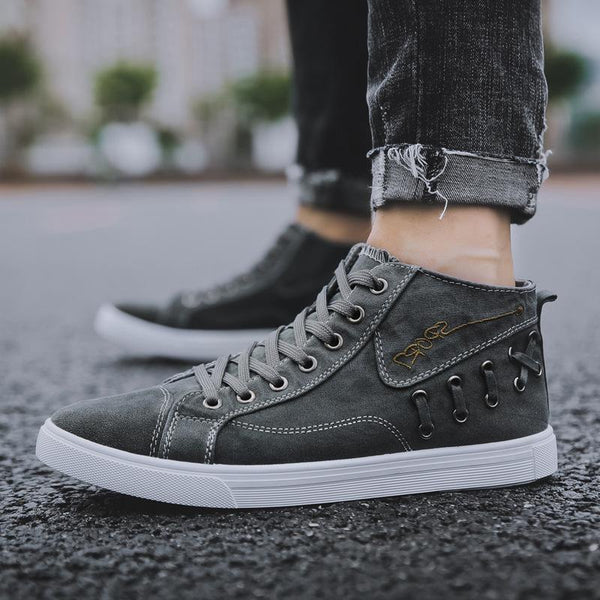 Trendinggate.com gray / 39 Spot wholesale 2019 new high-gang canvas shoes men's Korean version trend casual men's board shoes tie student shoes