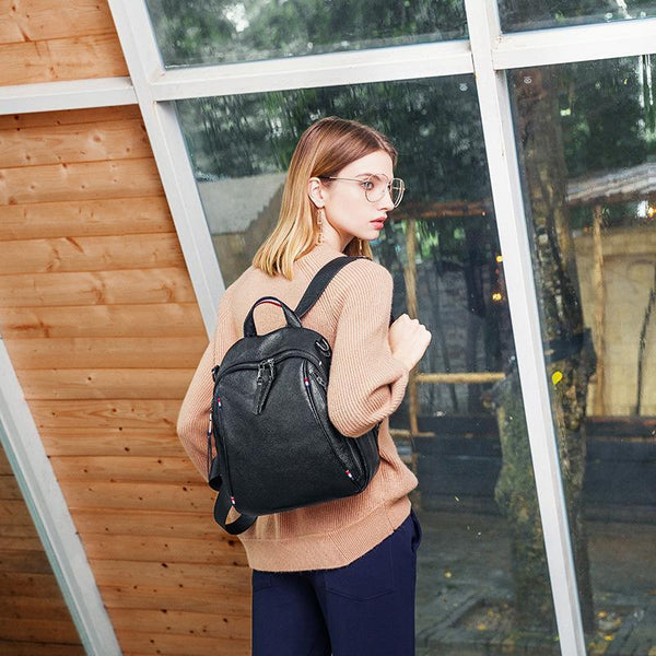 Trendinggate.com Summer's new shoulder bag British Women's head leather double zipper large-capacity tour bag soft leather