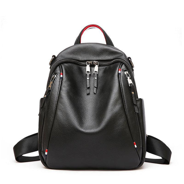 Trendinggate.com black Summer's new shoulder bag British Women's head leather double zipper large-capacity tour bag soft leather