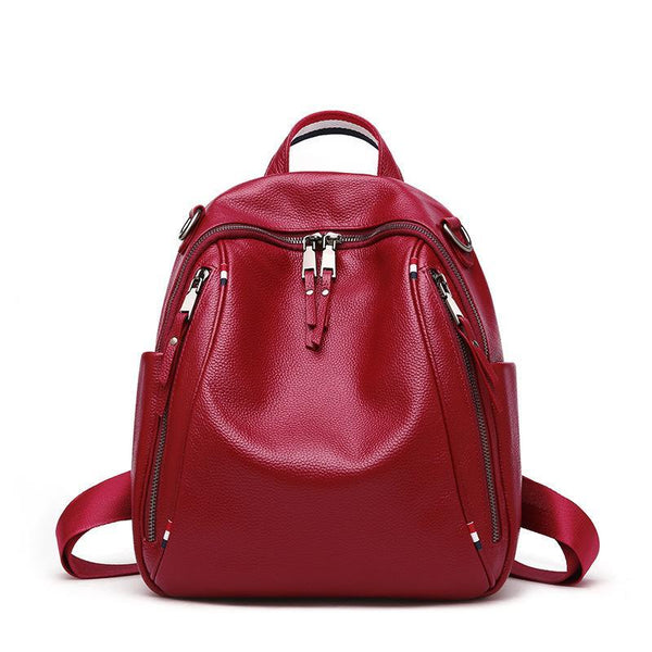 Trendinggate.com claret Summer's new shoulder bag British Women's head leather double zipper large-capacity tour bag soft leather