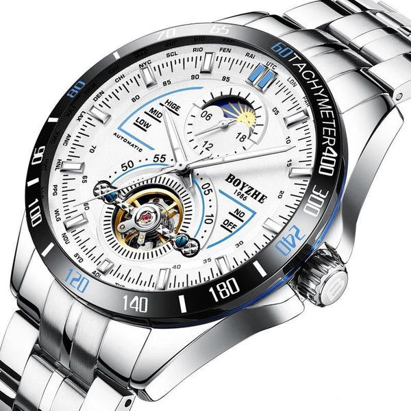 https://detail.1688.com/offer/570225705008.html Black and blue ring shell+wheat flou+Silver band sun dial stainless steel mechanical watch