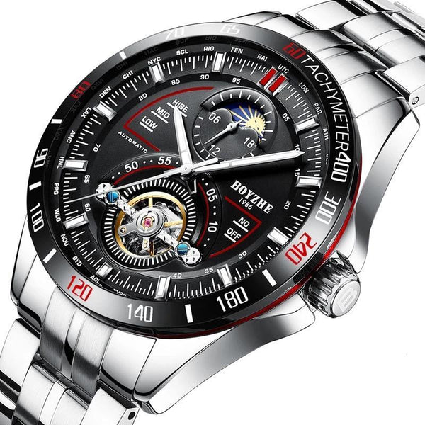 https://detail.1688.com/offer/570225705008.html Black and red ring shell+Black face+Silver band sun dial stainless steel mechanical watch