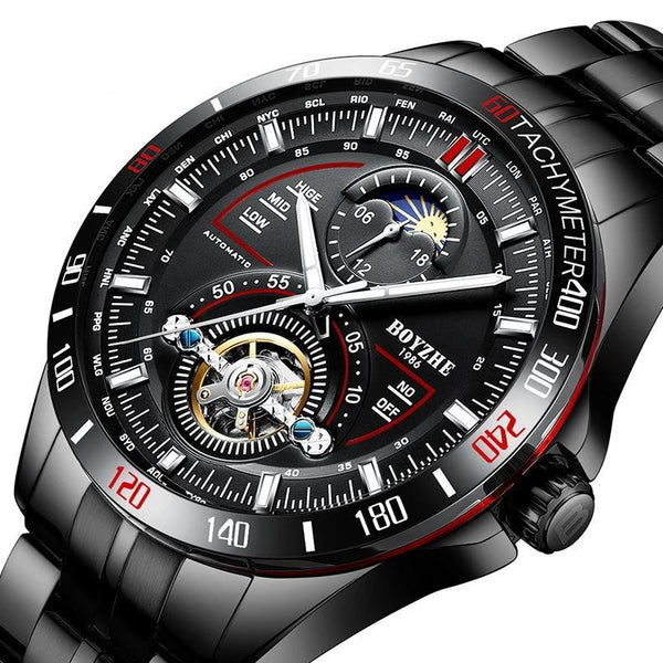 https://detail.1688.com/offer/570225705008.html Black shell+Black face+black band sun dial stainless steel mechanical watch