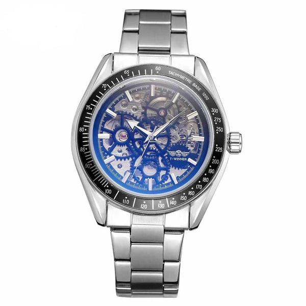 Trendinggate.com Men's Watches Black face of silver steel strip T-WINNER elegantly designed watch to Show off your refined taste, Perfect for formal events.