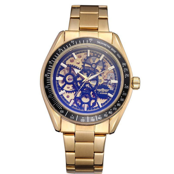 Trendinggate.com Men's Watches Gold steel strip, gold black face T-WINNER elegantly designed watch to Show off your refined taste, Perfect for formal events.