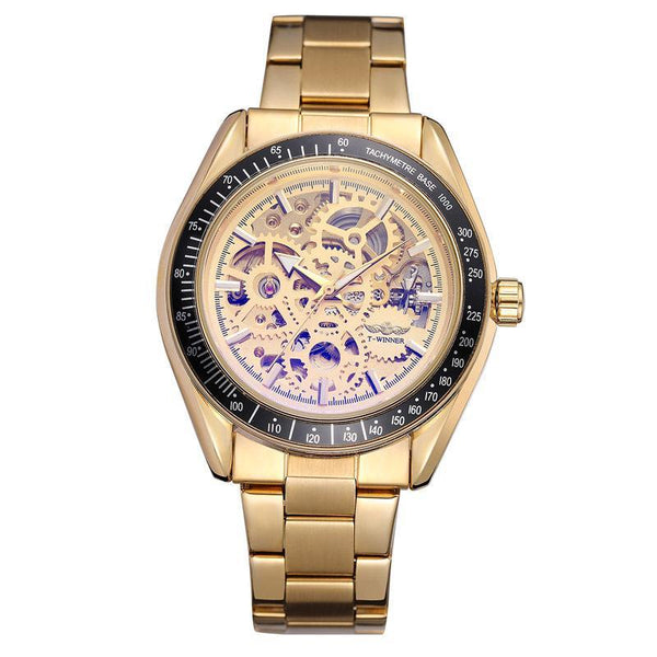 Trendinggate.com Men's Watches Gold strip T-WINNER elegantly designed watch to Show off your refined taste, Perfect for formal events.