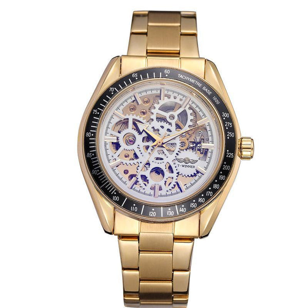 Trendinggate.com Men's Watches Gold strip, gold and white flour T-WINNER elegantly designed watch to Show off your refined taste, Perfect for formal events.