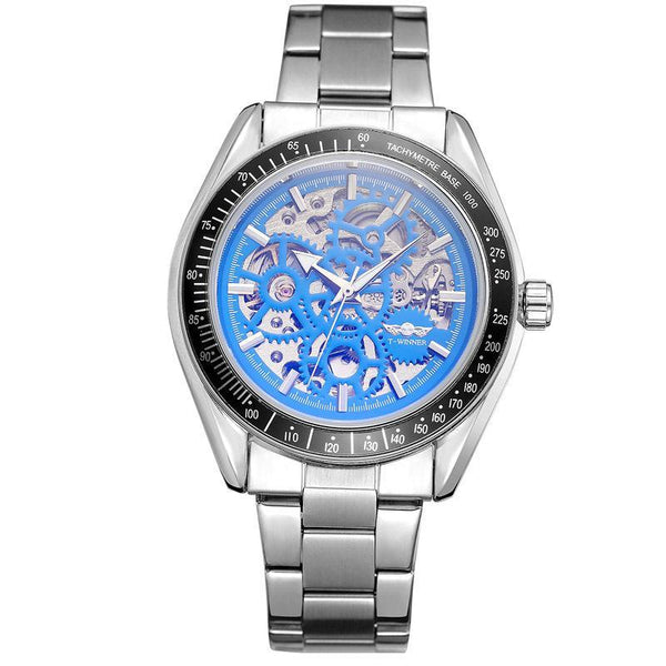 Trendinggate.com Men's Watches Silver steel band black and blue T-WINNER elegantly designed watch to Show off your refined taste, Perfect for formal events.