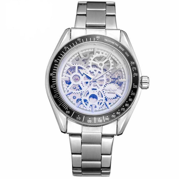 Trendinggate.com Men's Watches White side of silver steel strip T-WINNER elegantly designed watch to Show off your refined taste, Perfect for formal events.