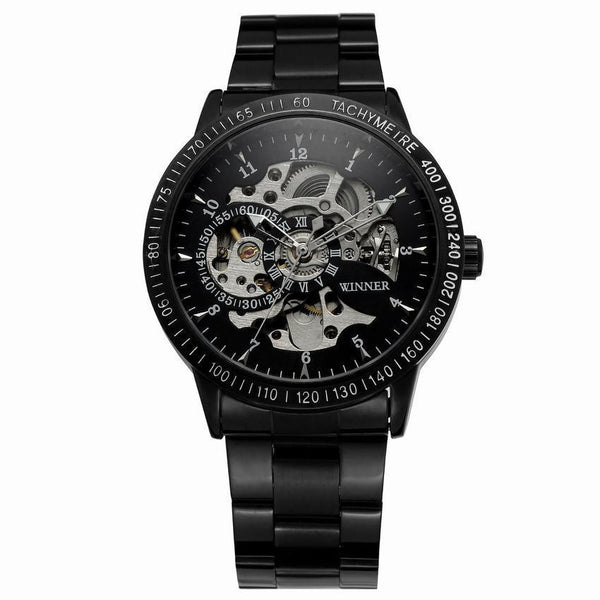 Trendinggate.com Men's Watches Black Gang with Black Shell and Black Face Silver Machine T-WINNER hollow mechanical watch