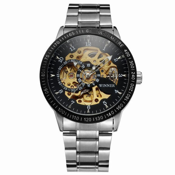 Trendinggate.com Men's Watches Silver steel with black shell black face gold machine. T-WINNER hollow mechanical watch