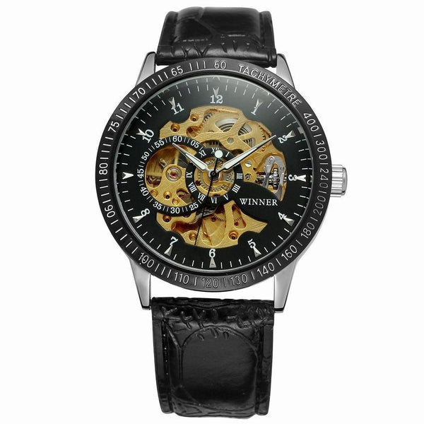 Trendinggate.com Men's Watches Black belt and black shell gold machine T-WINNER silver band creates a precious design and a touch of class