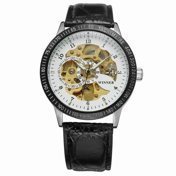 Trendinggate.com Men's Watches Black belt, black shell and white face T-WINNER silver band creates a precious design and a touch of class