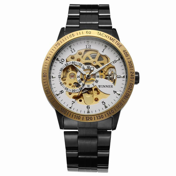 Trendinggate.com Men's Watches Black steel belt gold shell white flour gold machine T-WINNER silver band creates a precious design and a touch of class