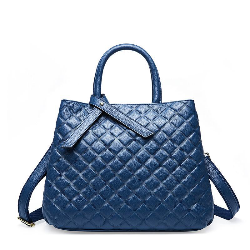 Trendinggate.com blue The new autumn and winter handheld large capacity women's bag with one shoulder slanted large bag and one shoulder bag with a large shoulder in the first layer of cowhide rhombus women's bag in autumn and winter.