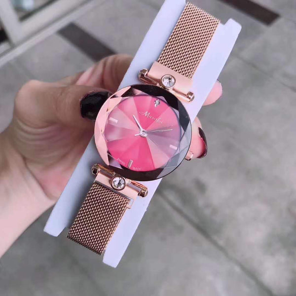 Trendinggate.com red The new Martha's authentic lady's watch Douyin is the same as the crystal cutting face Milan magnetic strap.