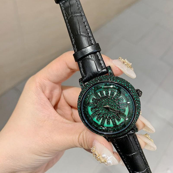 Trendinggate.com Green Diamond Black Skin Timini trembles the same style of diamond-inlaid wristwatch fashion trend Korean version simple full-drill to run women's watches