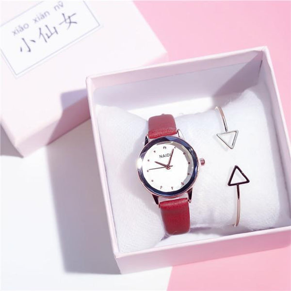 Trendinggate.com Brown (watch+Bracelet+Gift box) Tremble Net Red Watch Student Belt Watch Fashion Female Quartz Watches New Couple Ladies Watch