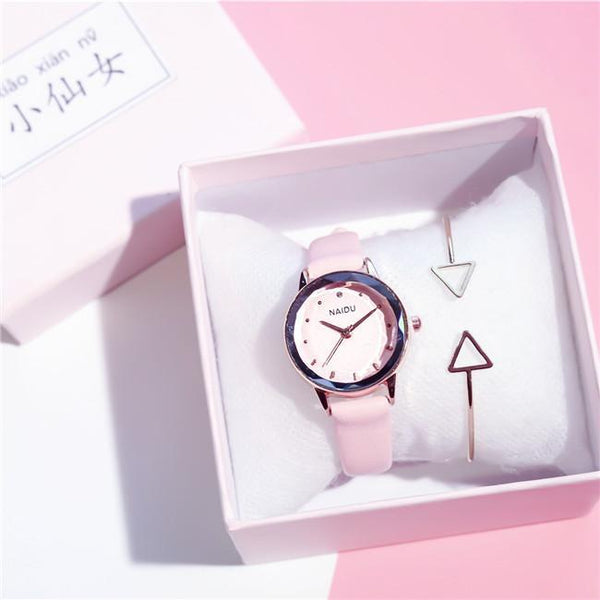 Trendinggate.com Pink (watch)+Bracelet+Gift box) Tremble Net Red Watch Student Belt Watch Fashion Female Quartz Watches New Couple Ladies Watch