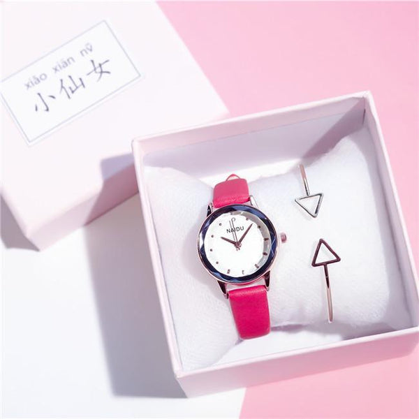 Trendinggate.com Red (watch)+bracelet+Gift box) Tremble Net Red Watch Student Belt Watch Fashion Female Quartz Watches New Couple Ladies Watch