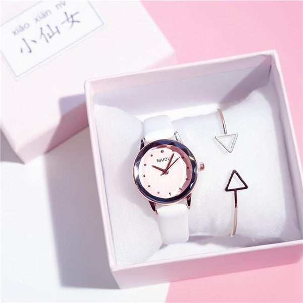 Trendinggate.com White (watch)+Bracelet+Gift box) Tremble Net Red Watch Student Belt Watch Fashion Female Quartz Watches New Couple Ladies Watch