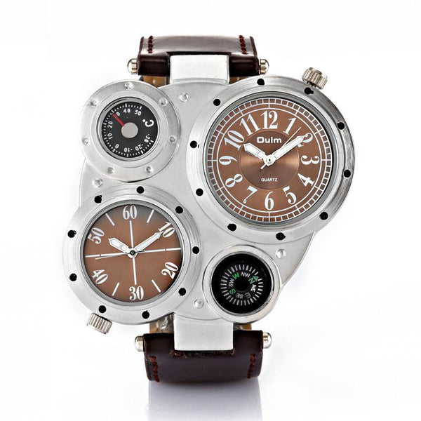 https://detail.1688.com/offer/528793414747.html brown Trending Big Watches Men's Leather Compass Japan Movt Quartz Watch