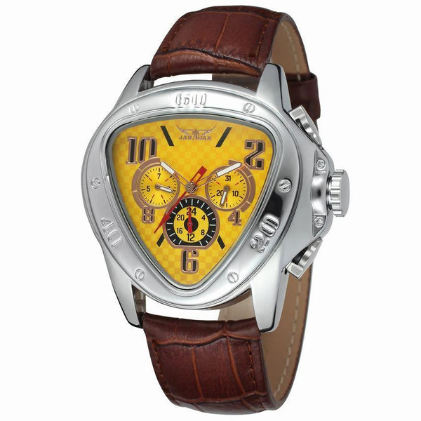 https://detail.1688.com/offer/585554632383.html yellow Trending Cross-border hot JARAGAR triangle dial 6-pin calendar fashion men's automatic mechanical watch men's watch