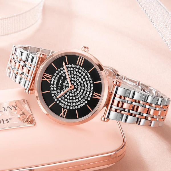 Trendinggate.com Rose shell black steel strip Ultra-thin Quartz Star Watch with Star Trend Woman Watch with Diamond Star Trend Wholesale Customized Logo