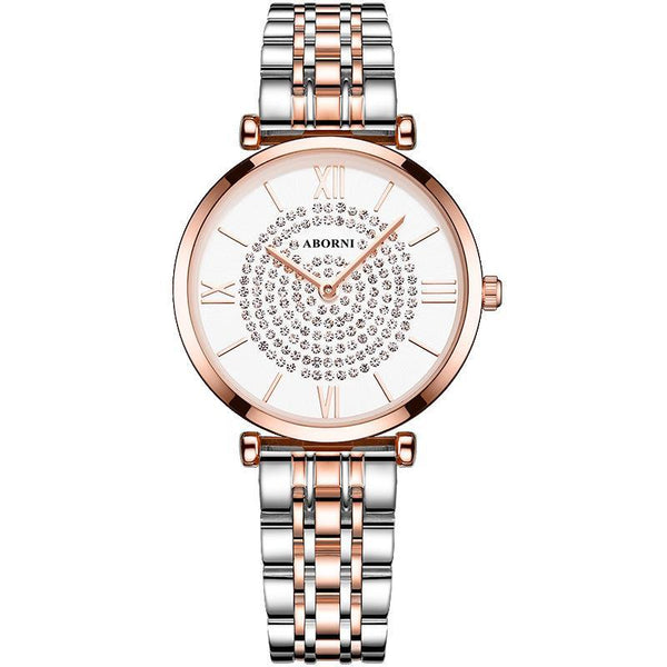 Trendinggate.com Rose Shell White Steel Strip Ultra-thin Quartz Star Watch with Star Trend Woman Watch with Diamond Star Trend Wholesale Customized Logo
