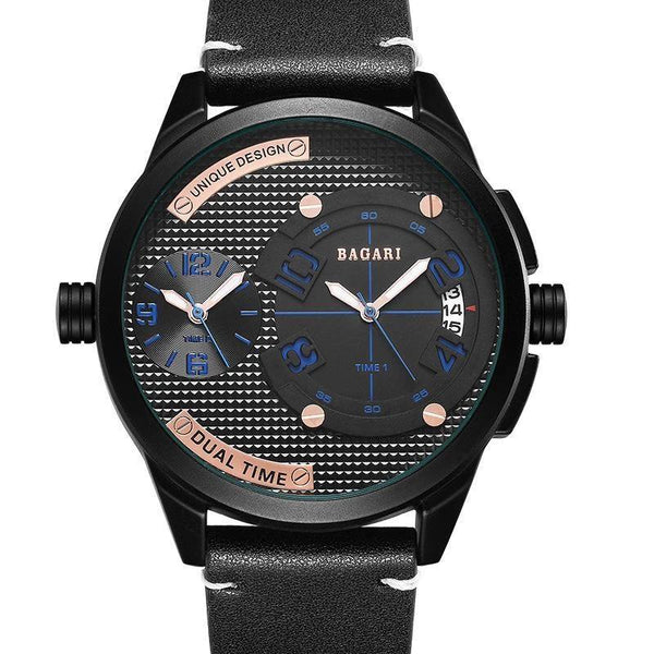 Trendinggate.com Black shell blue letter black belt Watch manufacturer direct sale fashion watch 2019wristwatch men dual movement multi-function waterproof watch