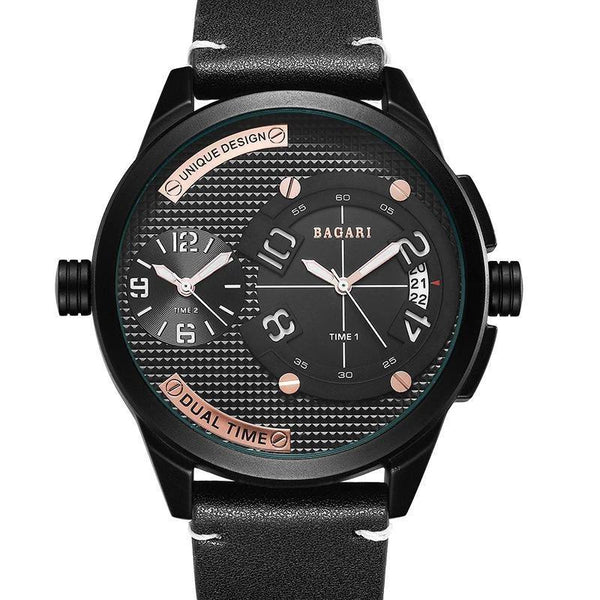 Trendinggate.com Black shell white character black belt Watch manufacturer direct sale fashion watch 2019wristwatch men dual movement multi-function waterproof watch