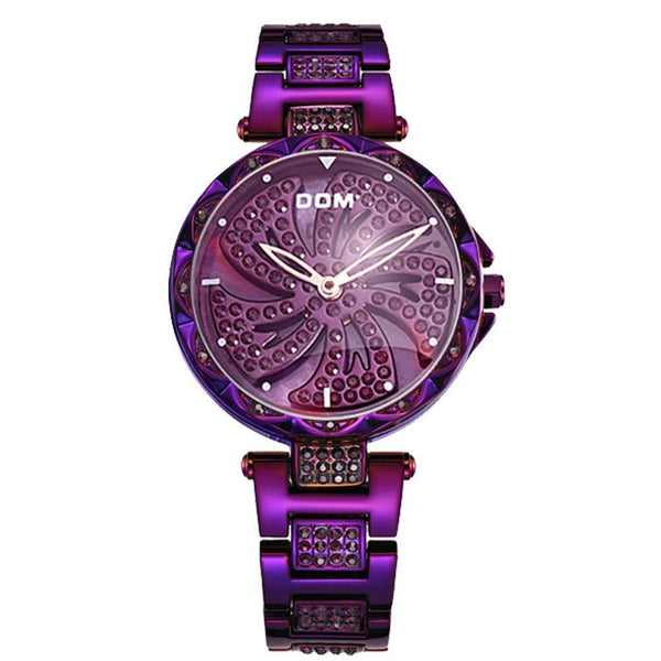 Trendinggate.com purple Watch Women Swiss Diamond Fashion Waterproof Ladies Watch Quartz to run steel belt watch
