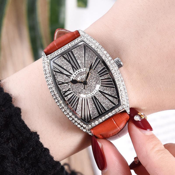 Trendinggate.com watches Hot-selling barrel-shaped lady's belt watch with diamonds mesh red waterproof fashionable recreational quartz watch