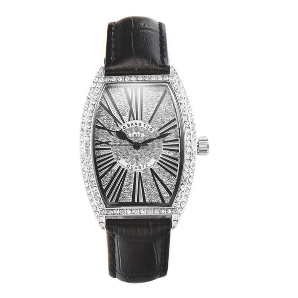 Trendinggate.com black watches Hot-selling barrel-shaped lady's belt watch with diamonds mesh red waterproof fashionable recreational quartz watch