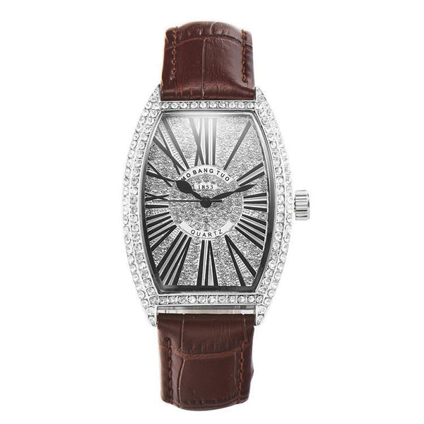 Trendinggate.com Brown watches Hot-selling barrel-shaped lady's belt watch with diamonds mesh red waterproof fashionable recreational quartz watch
