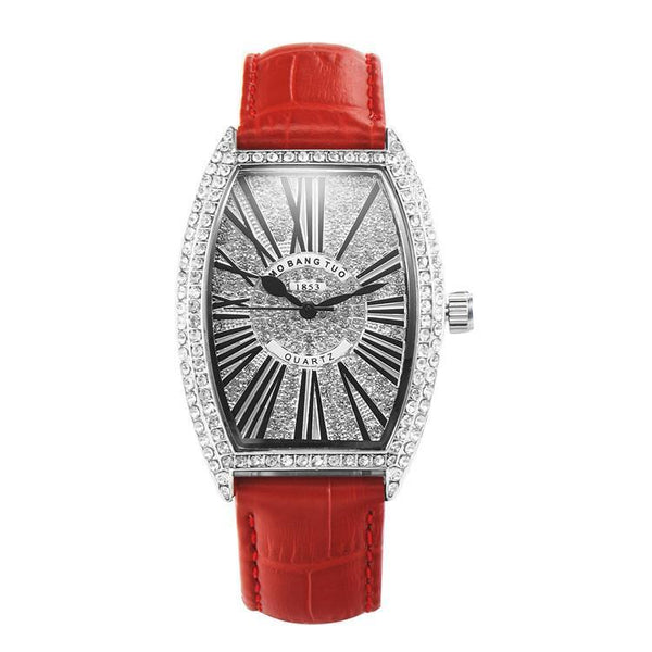 Trendinggate.com gules watches Hot-selling barrel-shaped lady's belt watch with diamonds mesh red waterproof fashionable recreational quartz watch