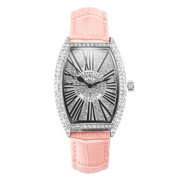 Trendinggate.com Pink watches Hot-selling barrel-shaped lady's belt watch with diamonds mesh red waterproof fashionable recreational quartz watch