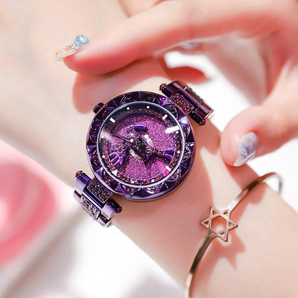 Trendinggate.com There's your purple strip all the way. When the popular style YJ6 comes to run the watch women Douyin, the same network celebrity quartz steel belt women's watch foreign trade source