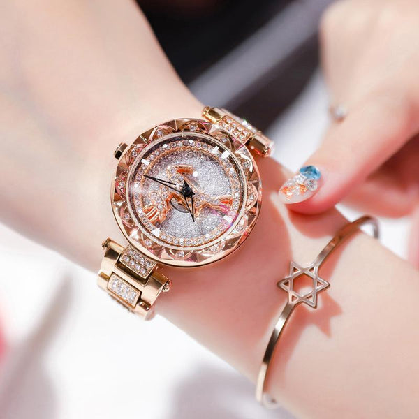 Trendinggate.com There's your rose gold strip all the way. When the popular style YJ6 comes to run the watch women Douyin, the same network celebrity quartz steel belt women's watch foreign trade source